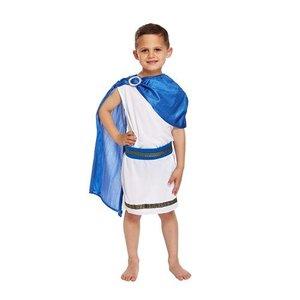 Henbrandt KINDEREN JONGENS 4-Delig Romeinse Caesar God Kostuum, bestaande uit: Toga met Sjerp\Lauwerkrans en Riem | Roman God Kostuum | romeinse edelman | Carnavalskleding | Verkleedkleding | Jongens | Maat: Medium: 7-9 jaar