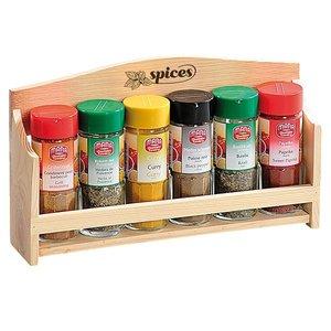 Kesper FSC Grenen Houten Kruiden Wandrek, voor het opbergen van 6 Kruiden | Kruidenrek | Spice Rack | Kruiden Organizer | Specerijen opbergen | Afm. 28 x 6 x 17.5 Cm.
