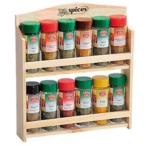 Kesper FSC Grenen Houten 2 Laags Kruiden Wandrek, voor het opbergen van 12 Kruiden | Kruidenrek 2 Laags | Spice Rack | Kruiden Organizer | Specerijen opbergen | Afm. 28 x 6 x 17.5 Cm.