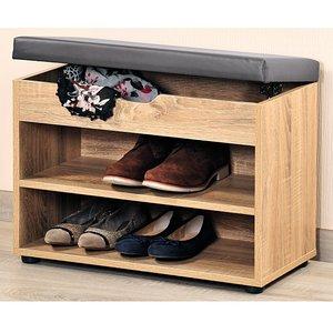 Kesper Schoenenkast met Optilbaar BRUIN Zitkussen   Schoenenbank met Optilbare Klep voor extra opslagruimte   Afm. 60 x 30 x 47 Cm.   Kleur: NATUUR HOUT