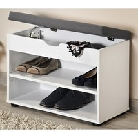 Kesper Schoenenkast met Optilbaar GRIJS Zitkussen | Schoenenbank met Optilbare Klep voor extra opslagruimte | Afm. 60 x 30 x 45 Cm. | Kleur: WIT
