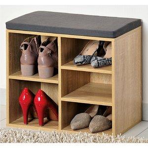 Kesper Schoenenkast met GRIJS Zitkussen, voorzien van 5 Opbergvakken | Schoenenbank voor Schoenen en Laarzen | 1 Variabel Vak | Afm. 51,5 x 48 x 29,5 Cm. Kleur: EIKENHOUT