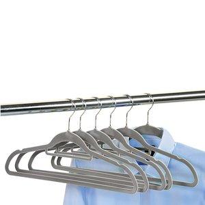 Kesper 6 STUKS Klerenhangers | Gemaakt van plastic met Broekspijp houder, 45 cm breed | Met Antislip | Broeklat | Kunststof klerenhanger | Kleur: GRIJS | PAK VAN 6 STUKS