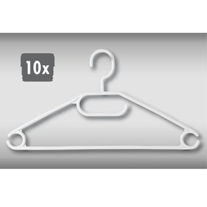 Kesper 10 STUKS Kledinghangers Wit | Broeklat | Kunststof klerenhanger | Broekhanger | Kleur: WIT | Pak van 10 Stuks