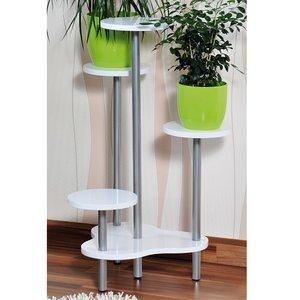 Kesper 100% FSC Houten Plantenrek met 4 Etages | Planten Potten Houder voor 4 Planten | Afm. 64,5 x 46 x 72,5 cm | Kleur: WIT