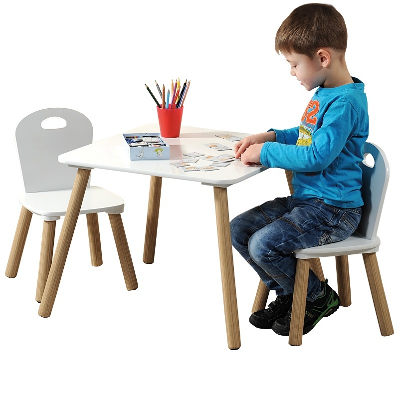 Kinderstoel Tafel Stoel.Kesper Mdf Kindertafel Set Met 2 Stoelen Kleur Wit