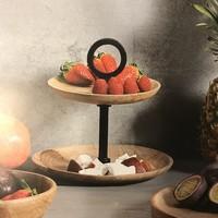 Kesper 2-laags Etagère | Voor Fruit, Nootjes, of Bonbons | 2 laags etagiere | Dubbele Schaal | Afm. 22 x 17,5 x 17,5 Cm.