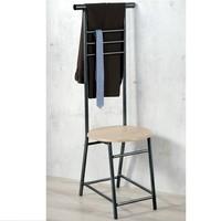 Kesper Dressboy | Dress boy | Vrijstaande kledingstandaard | Materiaal: verchroomd metaal en decor eiken hout | Afmetingen: 120 x 40 x 40 Cm. | Kledingstandaard voor bijvoorbeeld jas en overhemd