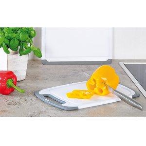Kesper Kunstof Snijplank  met Anti slip functie | Vaatwasmachinebestendig | Snij plank met handvat | Afm. 31,5 x 20 x 1 cm | Kleur: Wit / Grijs