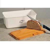 Kesper Melamine Broodtrommel met Bamboe Snijplank | Brood Bewaar doos met hoge kwaliteit Bamboe snij plank | Met Bamboe Deksel, te gebruiken als brood snijplank | Afm. 34 x 18 x 14 Cm. | Kleur Brood trommel: WIT