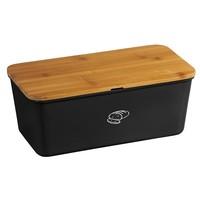 Kesper Melamine Broodtrommel met Bamboe Snijplank | Brood Bewaar doos met hoge kwaliteit Bamboe snij plank | Met Bamboe Deksel, te gebruiken als brood snijplank | Afm. 34 x 18 x 14 Cm. | Kleur Brood trommel: ZWART