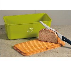Kesper Melamine Broodtrommel met Bamboe Snijplank | Brood Bewaar doos met hoge kwaliteit Bamboe snij plank | Met Bamboe Deksel, te gebruiken als brood snijplank | Afm. 34 x 18 x 14 Cm. | Kleur Brood trommel: GROEN