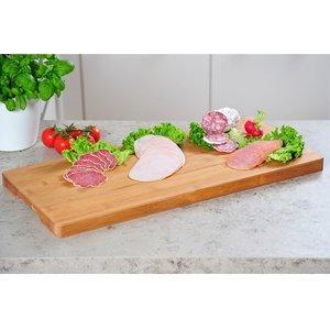 Kesper Groot FSC® Bamboe Buffet- / Serveerblad / Snijplank met verzonken handgrepen   Dienblad voor presentatie van eten    Afm. 57 x 27 x 2,8 Cm.   Kleur: Bamboe