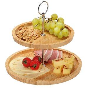 Kesper FSC® Houten Etagère Bamboe | 2 Laags Etagere |  Serveerschaal | Fruitschaal | Bon Bon Schaal | Afm. 25 x 25 x 24 Cm. | Kleur: Bamboe