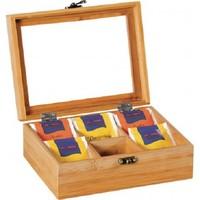 Kesper FSC® Bamboe Theedoos met 6 Vakken | Theekist Bamboe hout | Met deksel en venster | Thee Doos / Thea Box |  Afm. 21,7 x 16 x 9 Cm.