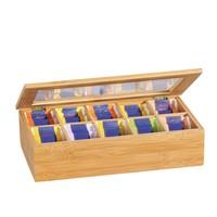 Kesper FSC® Bamboe Theedoos met 10 Vakken | Theekist Bamboe hout | Met deksel en venster | Thee Doos / Thea Box |  Afm. 36 x 20 x 9 Cm.