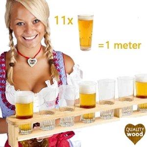 Kesper FSC® Houten 1 Meter BIER Dienblad | Biermeter | Bierlat | Meter Bier dienblad met gaten | Bierglashouder | Voor 11 Glazen bier | Afm. 100 x 8,5 x 10 Cm.