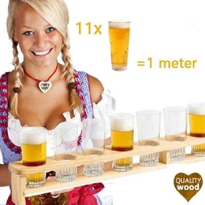 Kesper FSC® Houten 1 Meter BIER Dienblad   Biermeter   Bierlat   Meter Bier dienblad met gaten   Bierglashouder   Voor 11 Glazen bier   Afm. 100 x 8,5 x 10 Cm.