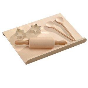 Kesper 6-Delige FSC® Beuken Houten Kinderbakset   Taart / Gebak Bak Set voor Kinderen   Bak Rol Plaat, Deegroller, Houten Lepels en Uitsteek vormpjes   Kinderen Bakset   Afm. 30 x 20 x 5 Cm. (6 Delige SET )