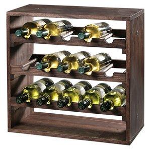 Kesper FSC® Houten Wijnflessen legbordsysteem voor 15 wijn flessen | Wijnrek | Flessenrek | Wijn rek | Materiaal: Grenen Hout | Afm. 50 x 50 x 25 Cm.