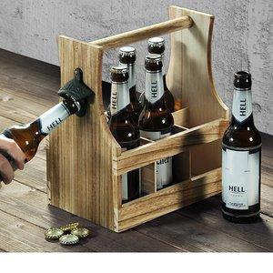 Kesper FSC® Houten Bierkrat met Bierflessen opener | Bier Flessenhouder voor 6 flessen met opener | Bier butler | Bierkrat Flessen Drager | Bier Krat | Afm. 25 x 16,8 x 32 Cm.
