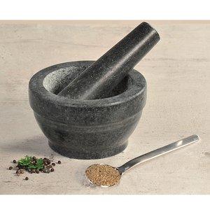 Kesper Granieten Vijzel Ø 16 cm met Stamper van Graniet | Fijnstampen en vermalen van Kruiden of  maken van Dressings | Materiaal: Graniet | Afm. 16 x 16 x 8,5 Cm.