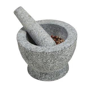 Kesper Granieten Vijzel Ø 18 cm met Stamper van Graniet | Fijnstampen en vermalen van Kruiden of  maken van Dressings | Materiaal: Graniet | Afm. 18 x 18 x 12 Cm.