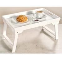 Kesper FSC® MDF Elegante inklapbare bedtafel met dienblad | Houten Bed tafel | Witte tafel | beddienblad | Ontbijt dienblad | Ontbijt op Bed | Afm. 52 x 32 x 27 Cm. | Kleur: WIT