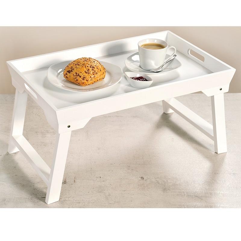 Witte Uitklapbare Tafel.Kesper Elegante Inklapbare Bedtafel Met Dienblad Houten Bed