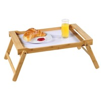 Kesper FSC® Bamboe Elegante inklapbare bedtafel met dienblad | Houten Bed tafel | Witte tafel | beddienblad | Ontbijt dienblad | Ontbijt op Bed | Afm. 59 x 33 x 24 Cm. | Kleur: BAMBOE / WIT