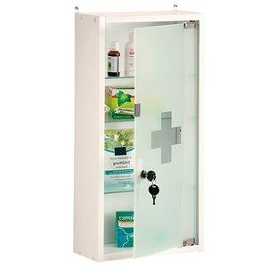 Kesper FSC® Medicijnkastje met Slot | Medicijnkastje met Sleutel slot en Magneet Slot  | Medicijn kastje | Afm. 28 x 57 x 12 Cm. | Kleur: WIT