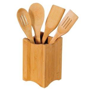 Kesper FSC® Bamboe 5-delige Houten Keukenset | Houten Keukengerei inclusief Vierkante Houder | Spatel, Pollepel etc. | Afm. 11 x 11 x 18 Cm. (5 Delig)
