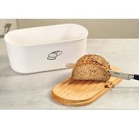 Kesper Melamine Ovale 2 in 1 Broodtrommel met Bamboe Snijplank | Brood Bewaar doos met hoge kwaliteit Bamboe snij plank | Met Bamboe Deksel, te gebruiken als brood snijplank | Afm. 33,5 x 18 x 14 Cm. | Kleur Brood trommel: WIT