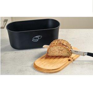 Kesper Melamine Ovale 2 in 1 Broodtrommel met Bamboe Snijplank | Brood Bewaar doos met hoge kwaliteit Bamboe snij plank | Met Bamboe Deksel, te gebruiken als brood snijplank | Afm. 33,5 x 18 x 14 Cm. | Kleur Brood trommel: ZWART