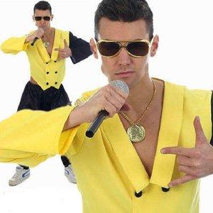 Henbrandt VOLWASSENEN HEREN 80's MC Hammer Rapper King Kostuum | Rap Koning Popster | Carnavalskleding | Verkleedkleding | Vrijgezellenfeest | Kleur: Geel & Zwart | Man | Maat: ONE SIZE FITTS ALL
