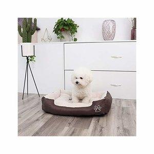 Songmics | Comfortabele Hondenmand met Omkeerbaar Kussen voor Zomer en Wintergebruik | Honden Mand / Puppykussen voor Hond of Kat | Oxford-doek | Afm. 60 x 48 x 15 cm | Kleur: Bruin / Beige