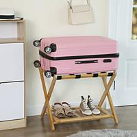 Decopatent Inklapbaar bagagerek van bamboe – Luxe uitvoering met extra plankje - Stevige kofferstandaard van hout voor koffer – Kofferrek - Professionele kwaliteit van Decopatent - Natural