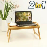 Decopatent Luxe dienblad met uitklapbare pootjes – Bamboe hout – Ontbijt op bed tafelfje / beddienblad / Laptoptafel - Inklapbaar met poten - Decopatent