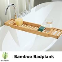 Decopatent Bamboe badrekje voor over bad – 70 cm lang – Badplank / badbrug geschikt voor telefoon – Basic bad tafeltje van hout - Decopatent