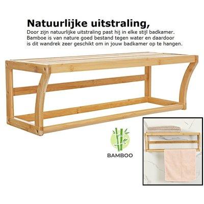 Decopatent Bamboe wandplank en handdoekenrek voor in de badkamer – Hangend houten wandrek / handdoekenhouder – Badkamer rek voor handdoeken - Decopatent