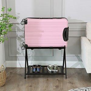 Decopatent Inklapbaar bagagerek van bamboe – Luxe uitvoering met extra plankje - Stevige kofferstandaard van hout voor koffer – Kofferrek - Professionele kwaliteit van Decopatent - Bruin