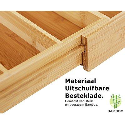 Decopatent Uitschuifbare bestekbak voor keukenla – 5 Vaks -> Uitschuifbaar naar 7 Vaks - Bestek organizer van hoogwaardig bamboe hout – Bestekcassette uitschuifbaar - 29-48 x 34 x 5 Cm. - Decopatent