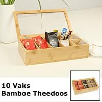 Decopatent Luxe theedoos met doorzichtig venster van bamboe hout – 10 vaks theekist voor thee - Decopatent