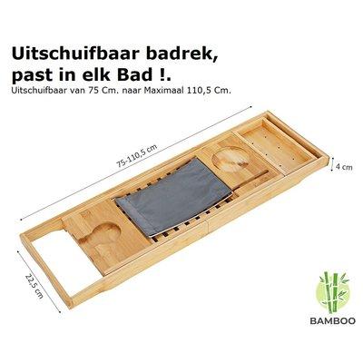 Decopatent Verstelbaar bamboe badrekje voor over bad – 75 tot 110 cm lang – Badplank / badbrug geschikt voor telefoon, tablet, boek – Bad tafeltje van hout - Decopatent