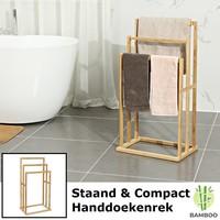 Decopatent Vrijstaand handdoekenrek voor badkamer – Staand handdoekrek van bamboe hout – Handdoek droogrek met 3 armen  - Handdoekrek - Decopatent