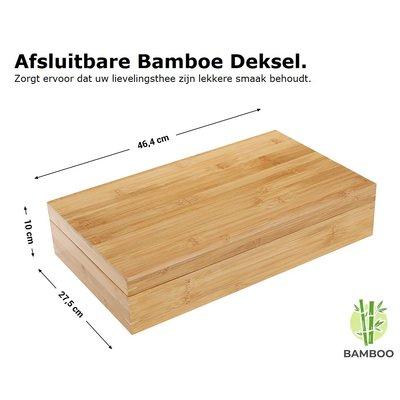 Decopatent Luxe grote theedoos van bamboe hout – 18 vaks theekist voor thee - Decopatent