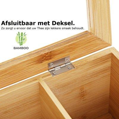 Decopatent Luxe theedoos met doorzichtig venster van bamboe hout – 9 vaks theekist voor thee - Decopatent