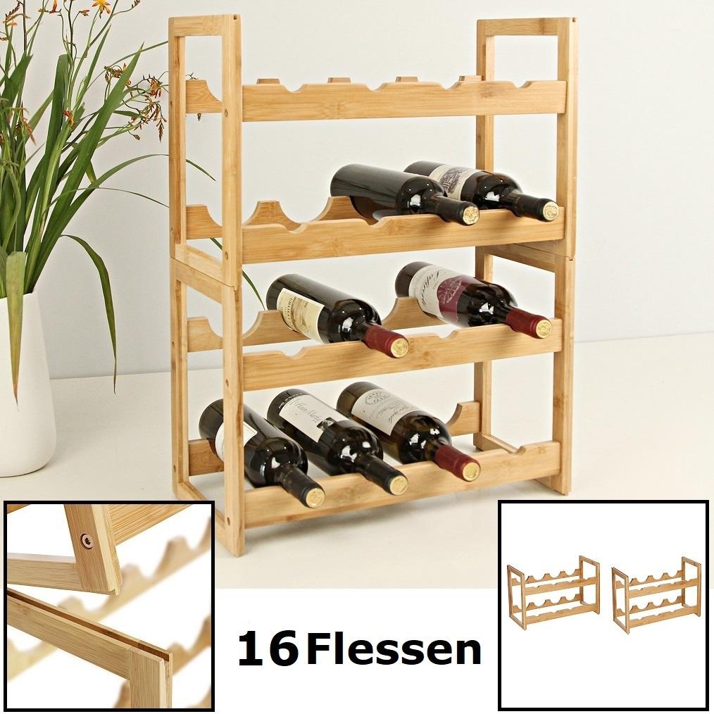 Decopatent Wijnrek Van Bamboe Hout Voor 16 Flessen Wijn Staand