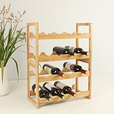 Decopatent Wijnrek van bamboe hout voor 16 flessen wijn – Staand en stapelbaar wijnrek – Mooi wijnflessenrek voor in kast of kamer - Decopatent (2 DOZEN)