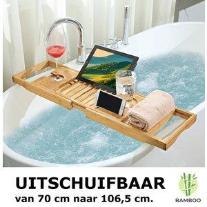 Decopatent Verstelbaar bamboe badrekje voor over bad – 70 tot 106,5 cm lang – Badplank / badbrug geschikt voor telefoon, tablet, boek – Bad tafeltje van hout - Decopatent